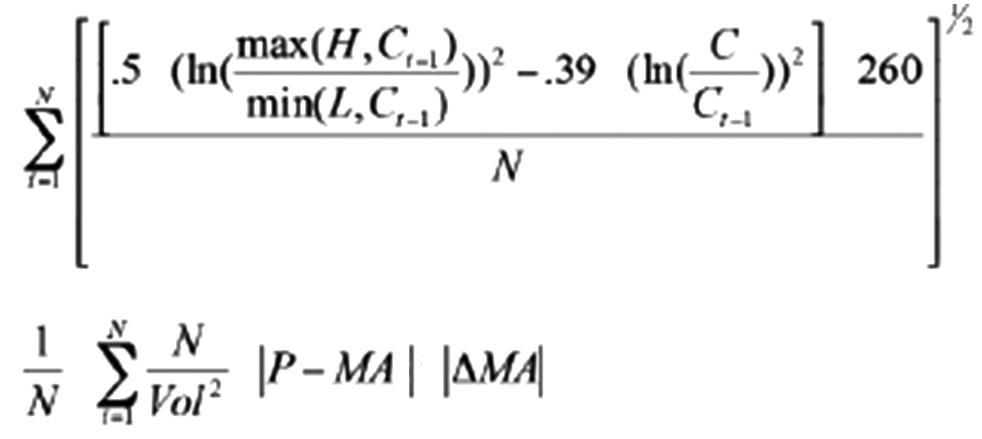 其中,H、L和C分别表示最高价、最低价和收盘价,N为使上面一行表达式取最小值的天数,取值在4—29之间。